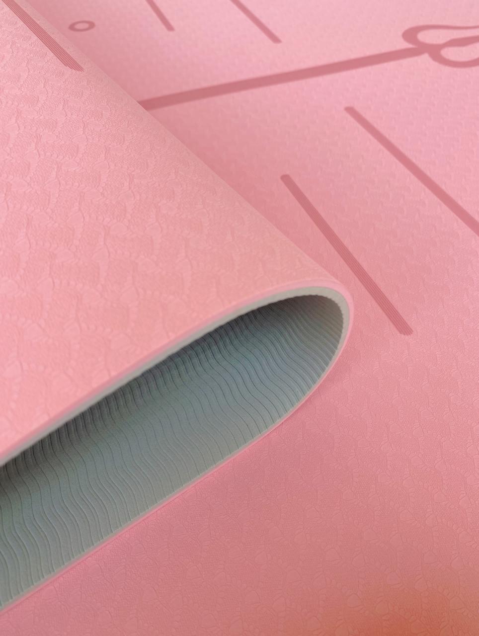Tapete de Yoga TPE Grande e Largo - Linhas de Posturas - Rosa - 6mm 183x80cm