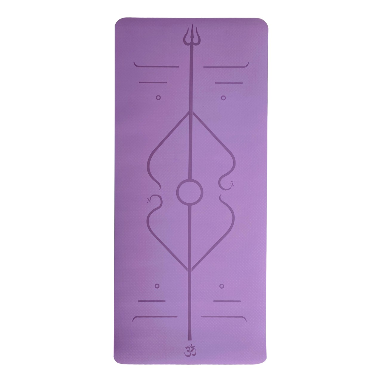 Tapete de Yoga TPE Grande e Largo - Linhas de Posturas - Roxo - 6mm 183x80cm