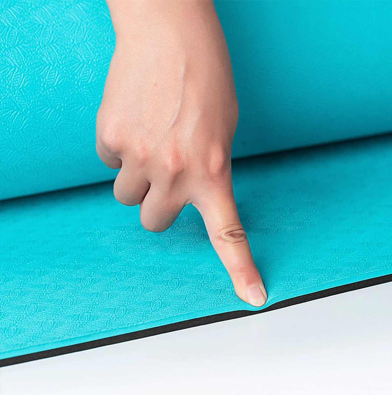 Tapete de Yoga TPE Grande e Largo - Linhas de Posturas - Turquesa - 6mm 183x80cm