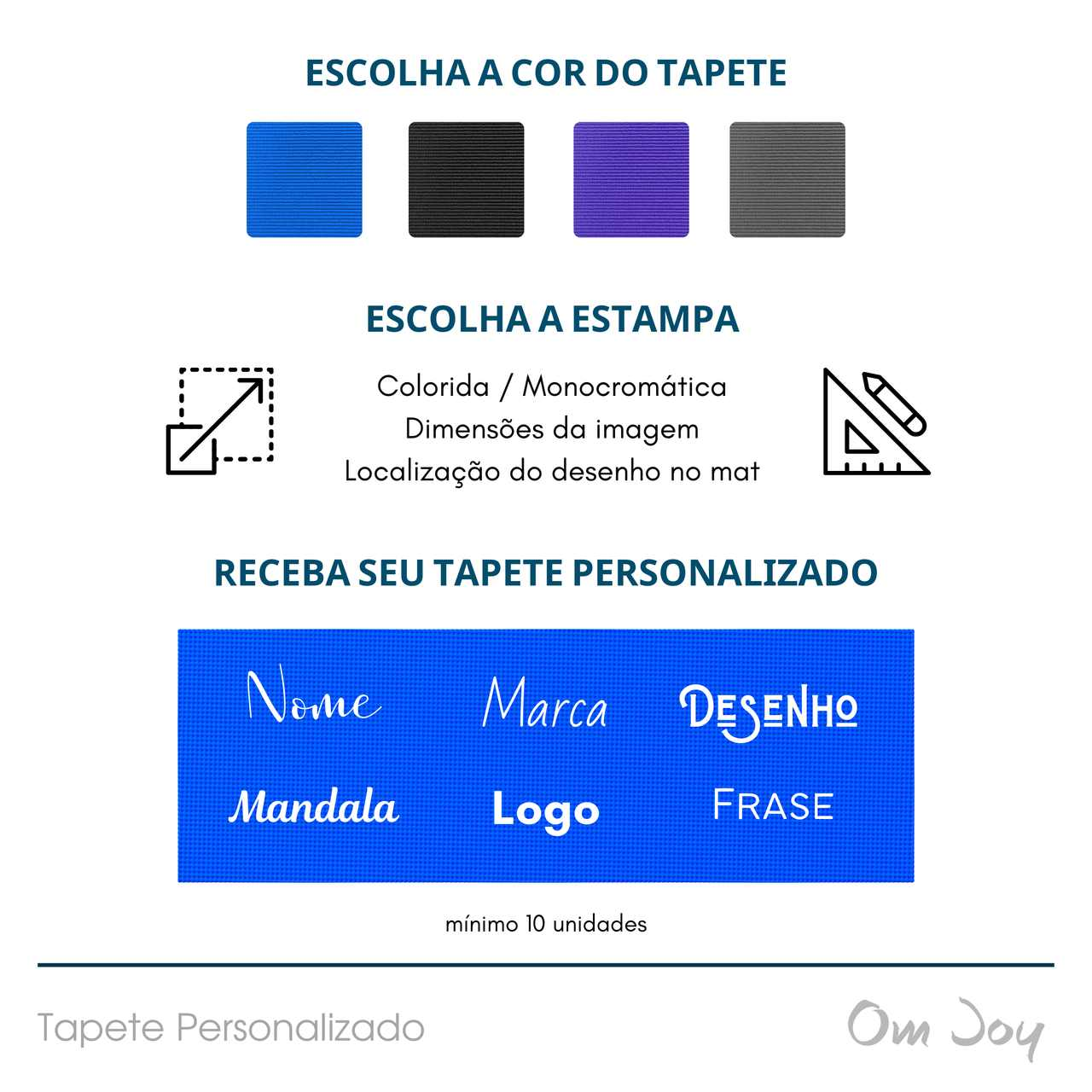 Tapete Yoga PVC Personalizado - Estampas Coloridas e Monocromáticas
