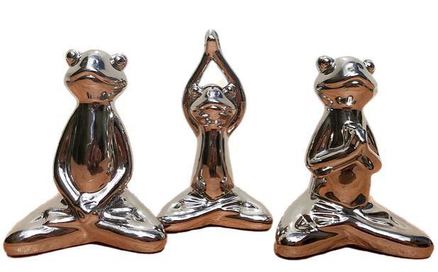 Trio - Estatuetas de Sapo - Poses de Yoga
