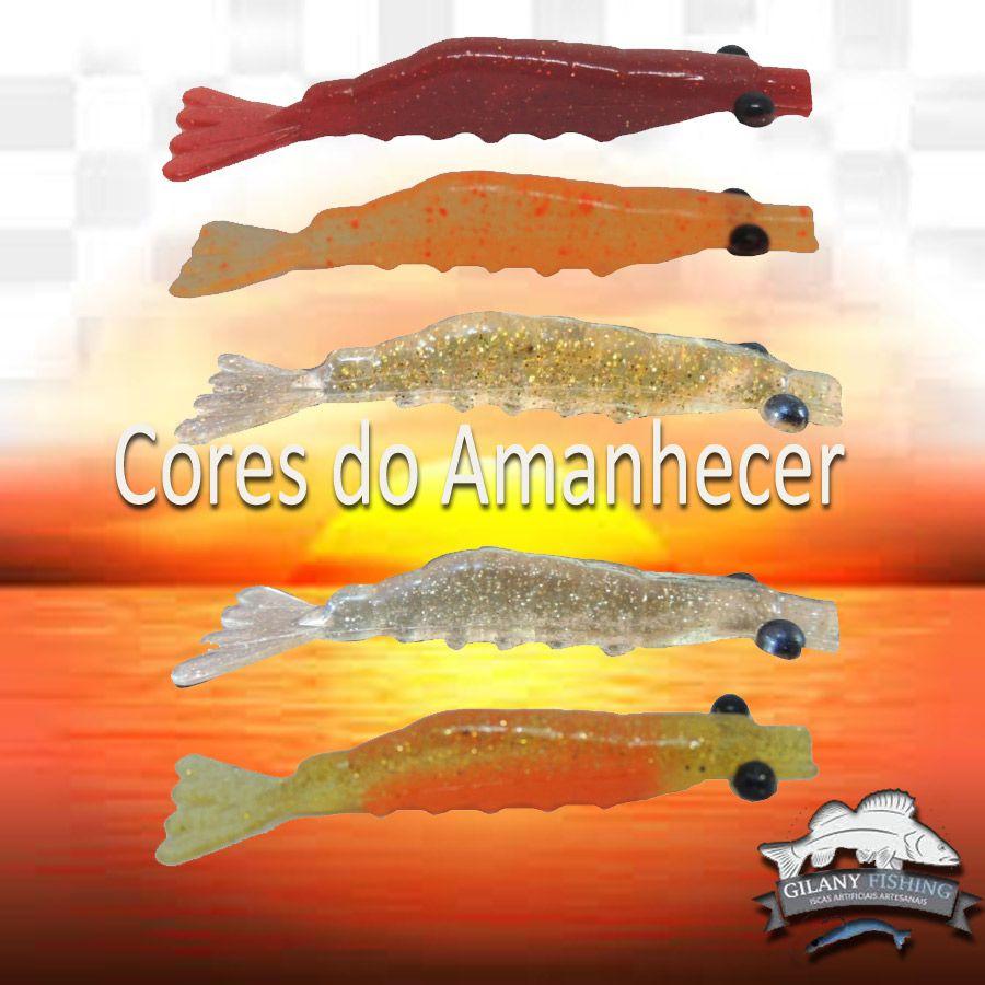 Isca Camarão Artificial 7 cm - Cores do Amanhecer (Robalo, Tucunaré)