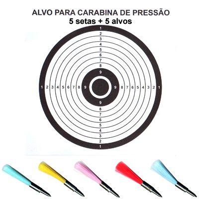 Setas 6.0 mm para Carabina + Alvos  (5 unid)