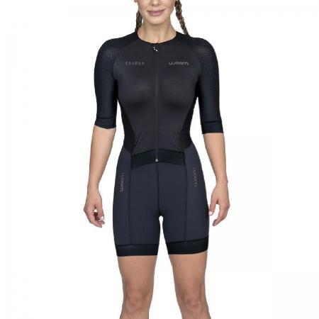 Macaquinho Woom Feminino Triathlon C Manga Carbon Black Pret