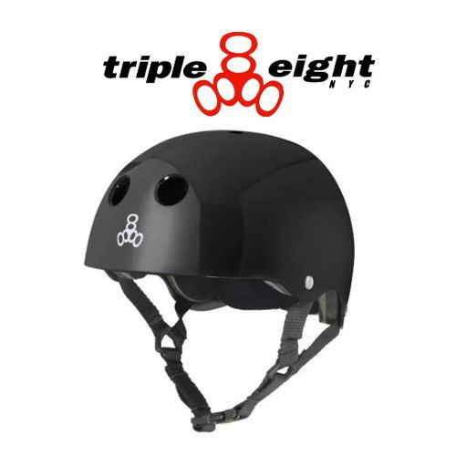 - Capacete Triple Eight Black Gloss Original, Skate Bike Promo