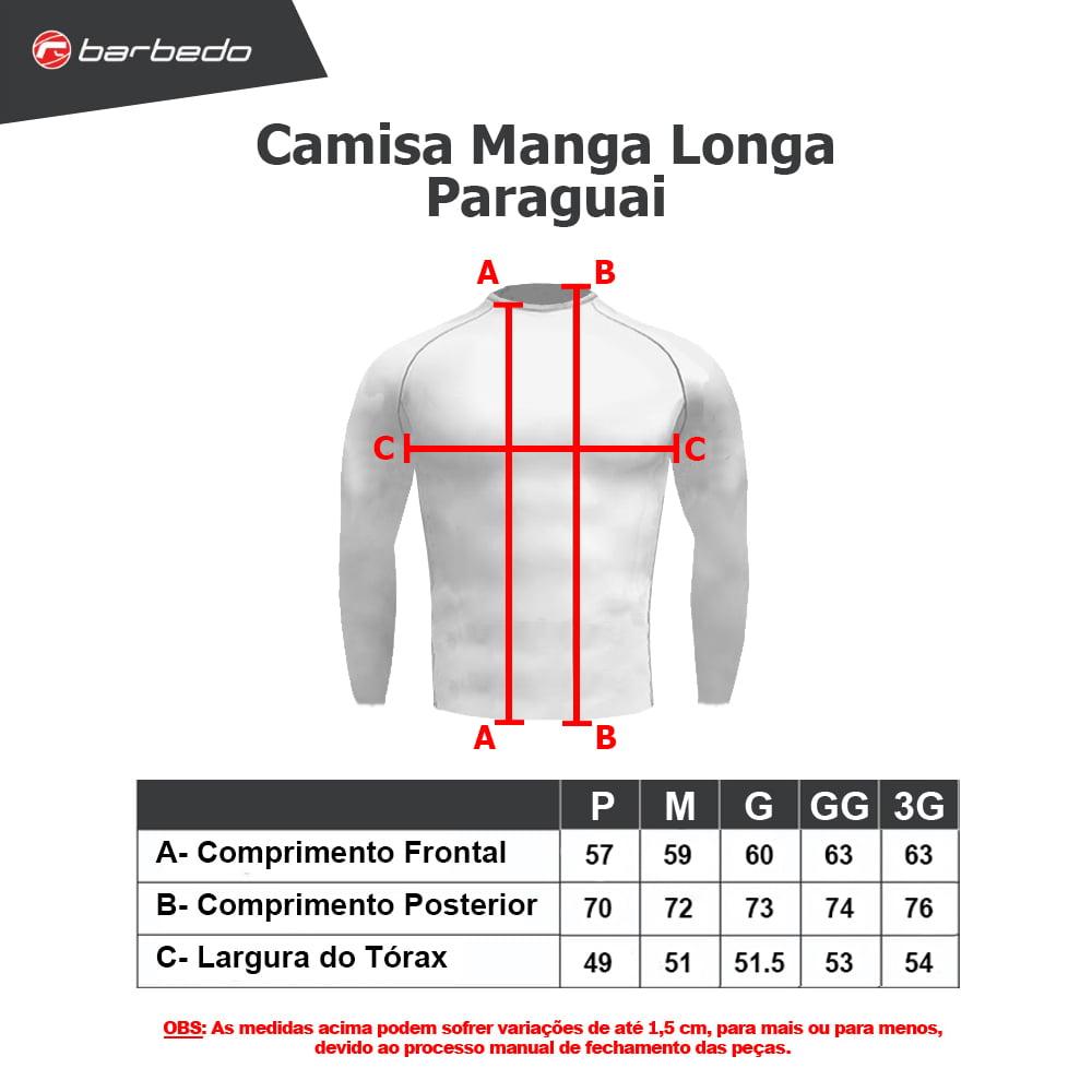 Camisa de Ciclismo Manga Longa Paraguai Barbedo