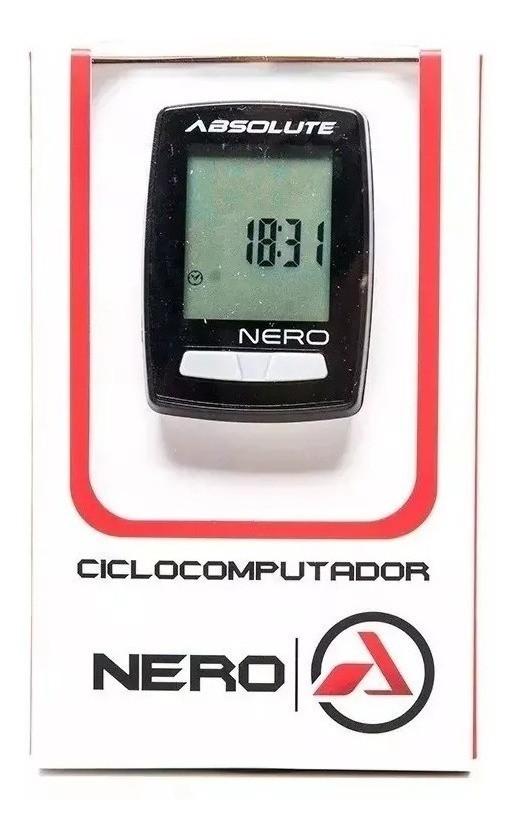 Ciclocomputador Nero 10 Funções Com Fio Absolute Preto