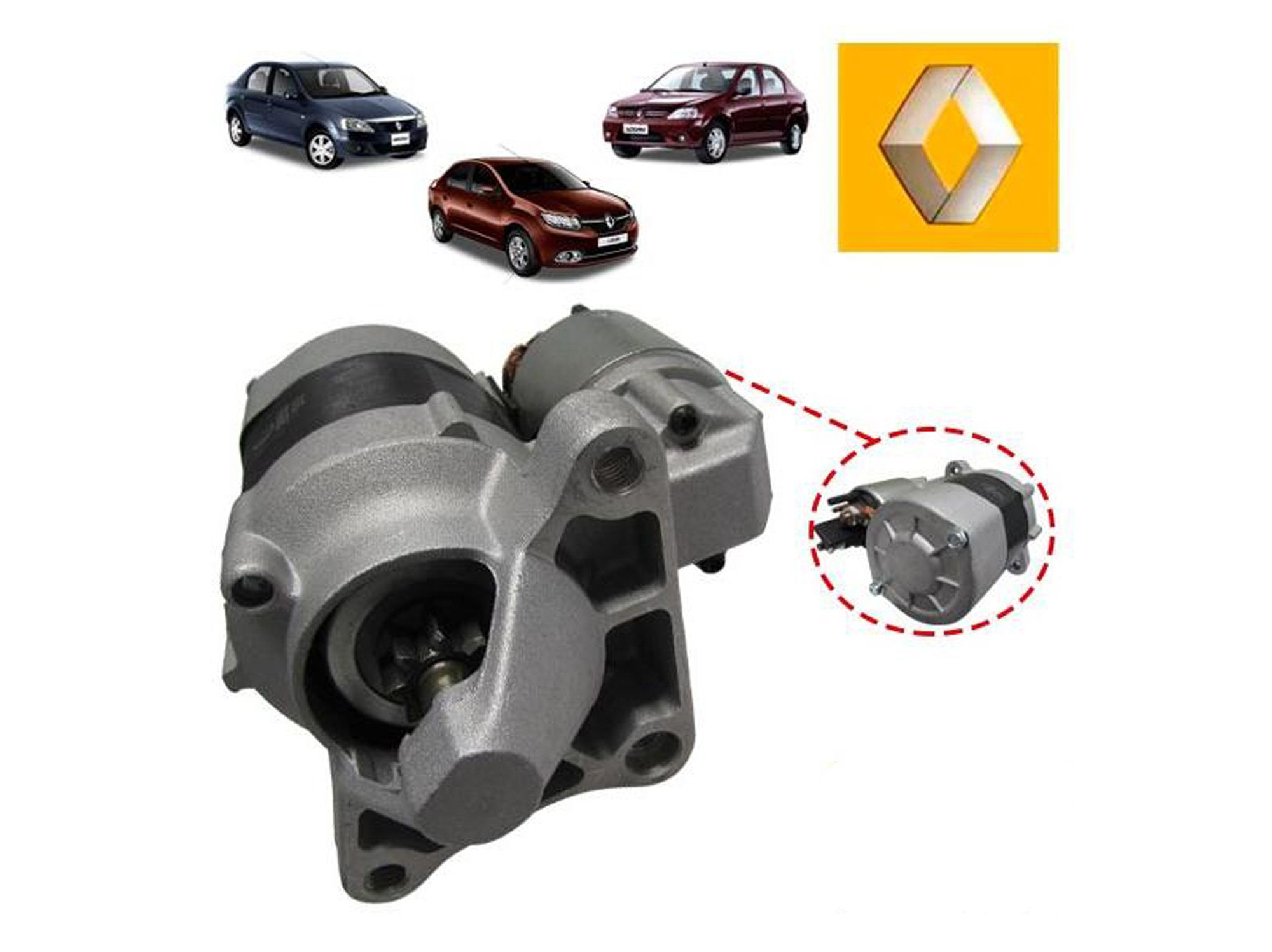 Motor de arranque - Renault Clio HI flex 1.6 16v, Duster 1.6 16v, Kangoo 1.6 8v/16v, Sandero 1.6 8v/16v, Logan 1.6 8v/16v, Symbol 1.6 16v,  Fluence 1.6 16v, Megane II 1.6 16v