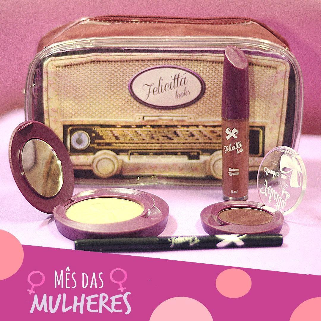 Kit das Mulheres - Batom Líquido Matte + Sombra + Delineador + Pó Compacto