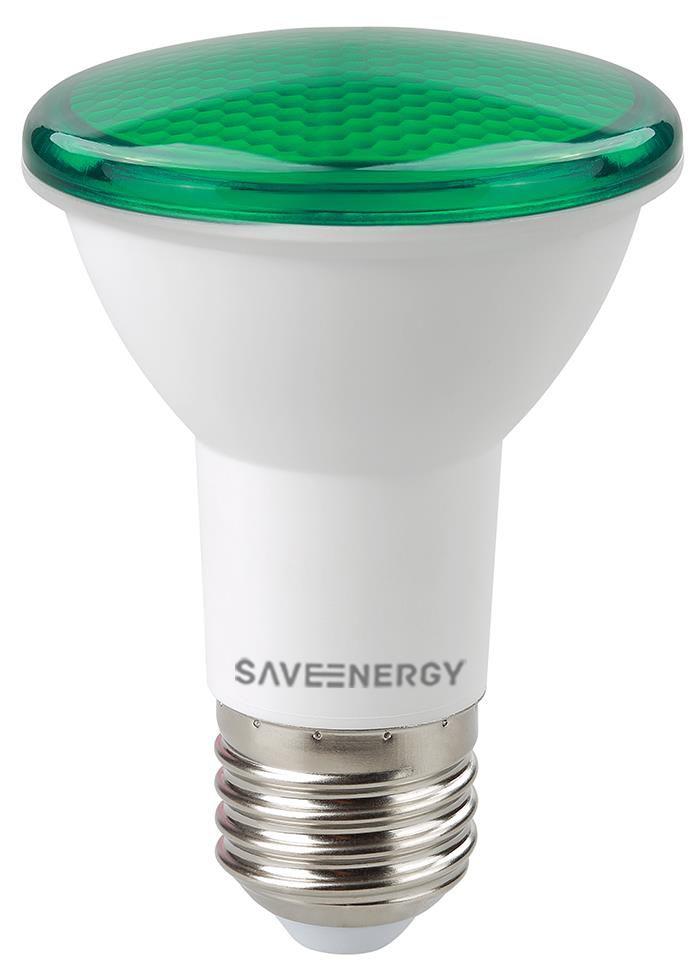 LÂMPADA LED PAR20 7W VERDE IP54 SAVE ENERGY SE-110.500