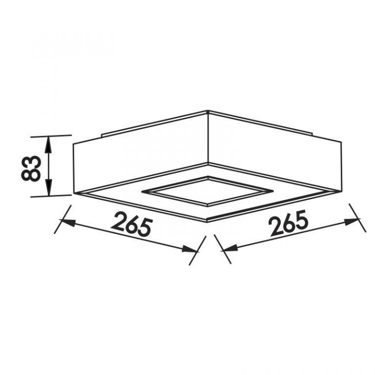 Plafon LED Newline 510LED3 New Chess Sobrepor 16,8W 3000K Bivolt 265x265x83mm
