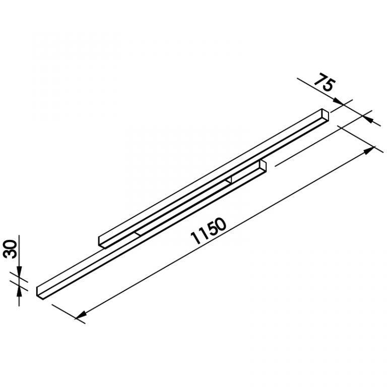 Plafon LED Newline 644LED4 FIT Sobrepor 48W 4000K Bivolt 1150x75x30mm