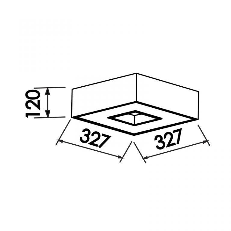 Plafon Newline 170 Chess Sobrepor 4L E27 327x327x120mm