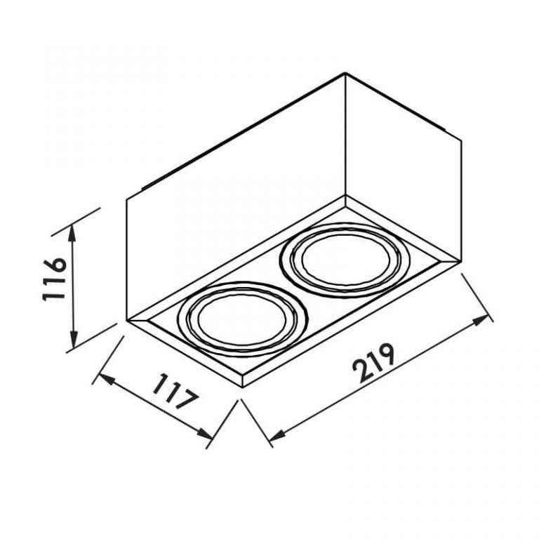 Plafon Newline IN40132 Bon Sobrepor 2 PAR20 E27 219x117x116mm