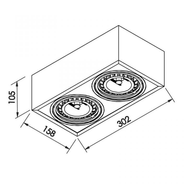 Plafon Newline IN41152 Box Sobrepor 2L AR111 GU10 302x158x105mm
