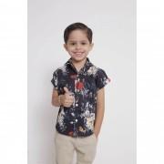 Camisa Social Manga Curta Preta Floral Infantil