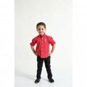 Camisa Social Merry Christimas Vermelha Infantil