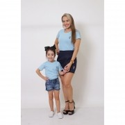 MÃE E FILHA > Kit 02 Peças T-Shirts - Azul Bebê [Coleção Tal Mãe Tal Filha]