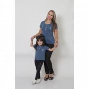 MÃE E FILHA > Kit 02 Peças T-Shirts ou Body Henley - Azul Petróleo [Coleção Tal Mãe Tal Filha]
