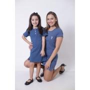 MÃE E FILHA > Kit Vestidos - Henley - Azul Petróleo [Coleção Tal Mãe Tal Filha]