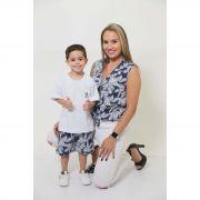MÃE E FILHO > Camisa Feminina + Bermuda Infantil Azul Floresta [Coleção Tal Mãe Tal Filho]