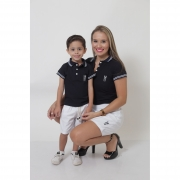 COMBO - MÃE E FILHO > Kit - Shorts Saia Branco e Polo Fem Azul + Bermuda Infantil Branca e Polo Infantil Azul [Coleção Tal Mãe Tal Filho]