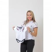MÃE E FILHO > Kit 02 peças - Camisa + Body Unissex Polo Branca   [Coleção Tal Mãe Tal Filho]