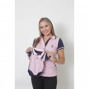 MÃE E FILHO > Kit 02 Peças - Camisa + Body Unissex Polo - Dual Cor Rosa e Marinho [Coleção Tal Mãe Tal Filho]