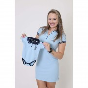 MÃE E FILHO > Kit 02 peças Vestido + Body  Unissex Polo - Azul Nobreza [Coleção Tal Mãe Tal Filho]