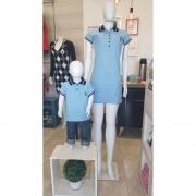 MÃE E FILHO > Kit 02 peças Vestido e Camisa ou Body Polo Infantil Azul Nobreza [Coleção Tal Mãe Tal Filho]