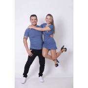 NAMORADOS > Kit 02 Peças - T-Shirt + Vestido - Henley - Azul Petróleo [Coleção Namorados]