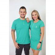 NAMORADOS > Kit 02 Peças - T-Shirt + Vestido - Henley - Verde Jade [Coleção Namorados]