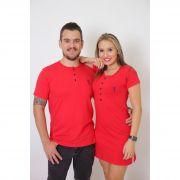 NAMORADOS > Kit 02 Peças - T-Shirt + Vestido - Henley - Vermelha [Coleção Namorados]