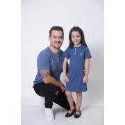 PAI E FILHA > 02 Peças - T-Shirt + Vestido Infantil - Azul Petróleo  [Coleção Tal Pai Tal Filha]