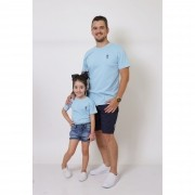 PAI E FILHA > 02 T-Shirts - Azul Bebê  [Coleção Tal Pai Tal Filha]
