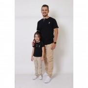 PAI E FILHA > 02 T-Shirts ou Body Henley - Preto  [Coleção Tal Pai Tal Filha]