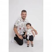 PAI E FILHA > Kit 02 Camisas Manga Curta Branca Floral [Coleção Tal Pai Tal Filha]