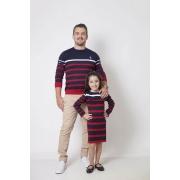 PAI E FILHA > Kit 02 Peças - Blusa Suéter + Vestido Suéter Listrados [Coleção Tal Pai Tal Filha]