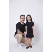 PAI E FILHA > T-Shirt Adulto  + Vestido Infantil - Henley - Preto  [Coleção Tal Pai Tal Filha]