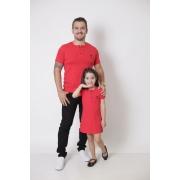 PAI E FILHA > T-Shirt Adulto  + Vestido Infantil - Henley - Vermelho  [Coleção Tal Pai Tal Filha]
