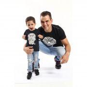PAI E FILHO > 02 Camisetas Pretas Com Caveiras Mexicanas Alto Relevo [Coleção Tal Pai Tal Filho]