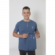 PAI E FILHOS > 02 Peças - T-Shirt + Body Unissex Henley - Azul Petróleo  [Coleção Tal Pai Tal Filho]