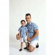 PAI E FILHO > Kit 02 Camisas Manga Curta Azul Floral  [Coleção Tal Pai Tal Filho]