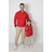 PAI E FILHO > Kit 02 Camisas Polos  ou Body Infantil Vermelho Manga Longa [Coleção Tal Pai Tal Filho]