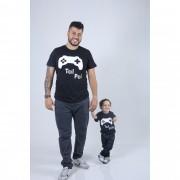 PAI E FILHOS > 02 Camisetas - Preto - Game  [Coleção Tal Pai Tal Filho]