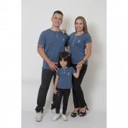 PAIS E FILHA > Kit 3 Peças T-Shirt ou Body Henley - Azul Petróleo [Coleção Família]