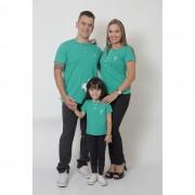 PAIS E FILHA > Kit 3 Peças T-Shirt ou Body Henley - Verde Jade [Coleção Família]