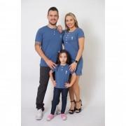 PAIS E FILHA > Kit 3 Peças T-Shirt + Vestido + t-Shirt ou Body Infantil Henley - Azul Petróleo [Coleção Família]