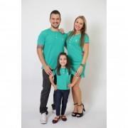 PAIS E FILHA > Kit 3 Peças T-Shirt + Vestido + t-Shirt ou Body Infantil Henley - Verde Jade [Coleção Família]