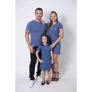 PAIS E FILHA > Kit 3 Peças T-Shirt + Vestidos Henley - Azul Petróleo [Coleção Família]